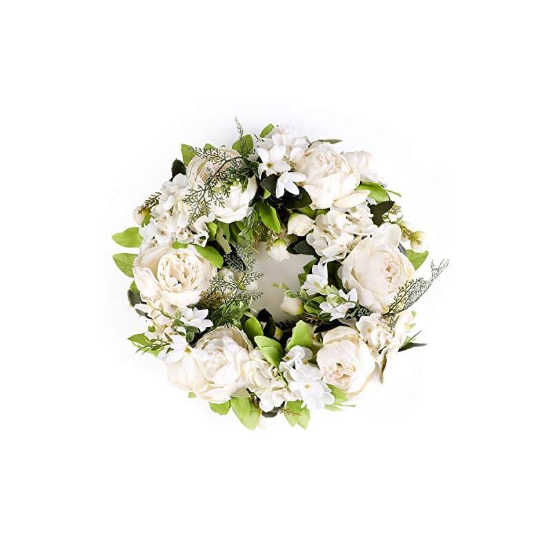 """silk flower arrangements lasperal peony wreath flower wreath for front door 15"""" fall wreath autumn white wreaths for front door, wedding, wall, indoor outdoor decor"""