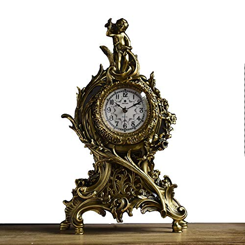 - YONGMEI Watches and Clocks - All Copper Clocks France 1870 Louis XV Fireplace Clock Copper Clocks Creative Home Europe and America Decorative cast Arrow Angel Clock Clock (Color : Brass)