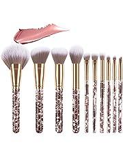 Emibele Crystal Makeup Brush Set, 10PCs Professional Makeup Brushes Premium Synthetic Bristles Powder Blush Concealer Eyeshadow Make Up Brushes for Women & Girls, Gold
