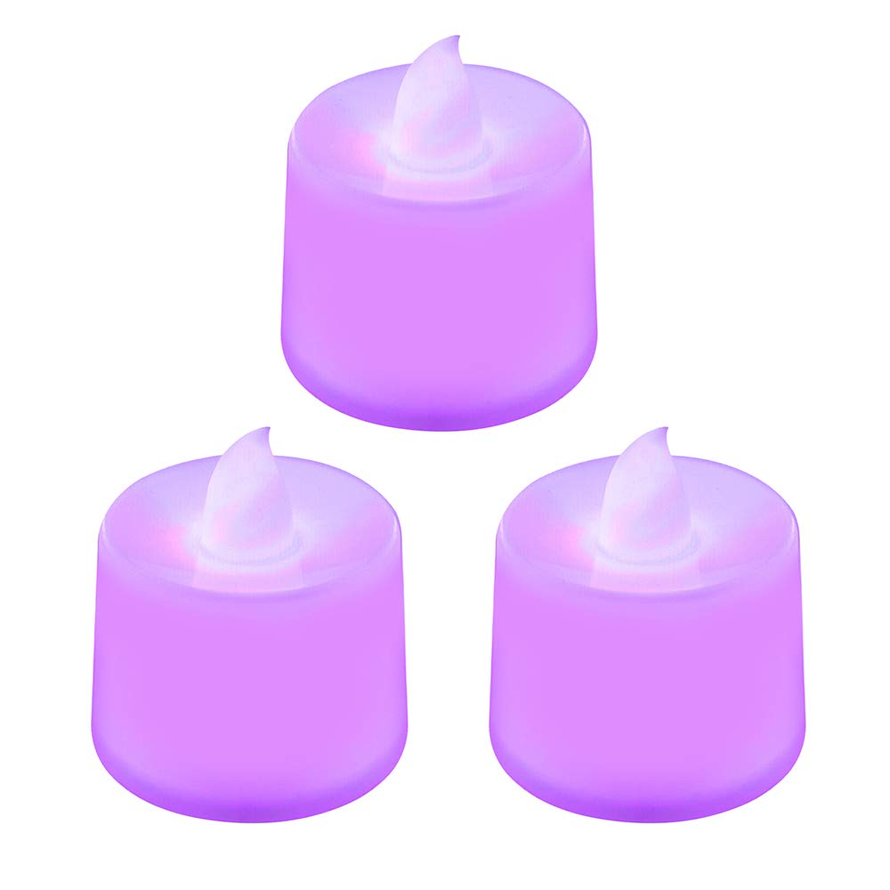 Ruimin 3pcs/Set Purple Flickering Unscented Flameless Candles LED Tea Light for Parties Weddings and Decorations