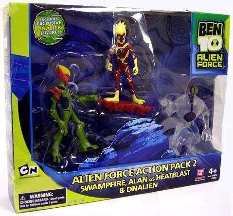 - Ben 10 Alien Force 4 Inch Exclusive Action Figure 3-Pack Action Pack 2 (Swampfire, Alan as Heatblast and Clear DNALien)