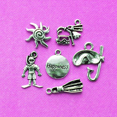 Scuba Diving Charm Collection Antique Silver Tone 6 Charms ODSF-8841