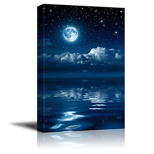 wall26 - Canvas Prints Wall Art - Full Moon Gleaming Over Water | Modern Wall Decor/Home Decoration Stretched Gallery Canvas Wrap Giclee Print. Ready to Hang - 32