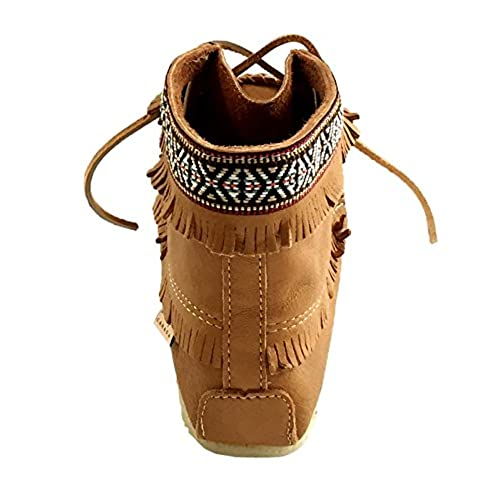 40efa997e 70%OFF Laurentian Chief Men's Fringe and Braid Apache Moccasin Boots Cork  Brown