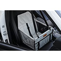 WOpet Deluxe Portable Pet Dog Car Booster Seat with Clip-On Safety Leash and Zipper Storage Pocket (1612.69.5)