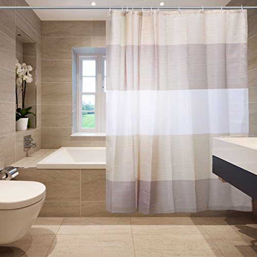 Shower Curtain with Strip Pattern Polyester Fabric Mildew Resistant 100% Anti-Bacterial Shower Curtain with 12 Hooks – 70.8