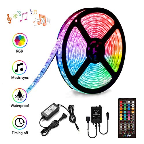 LED Strip Lights Sync to Music, Kousee 16.4ft Flexible 5m Self-Adhesive RGB Light Strips Remote Color Change IP65 Waterproof 150LEDs 5050 Tape Lights Neon Ribbon Room Mood Lighting 12V for Bedroom