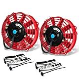 7 Inch High Performance Red Electric Radiator Cooling Fan Assembly Kit (Pack of 2)