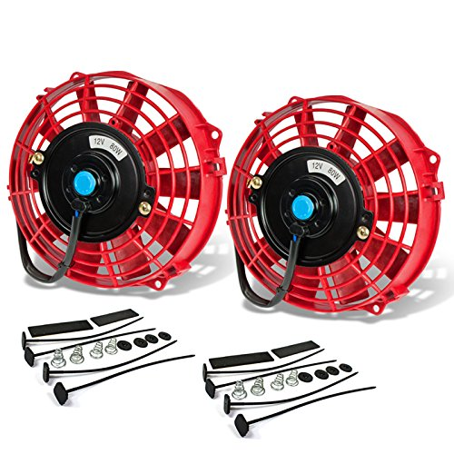 (7 Inch High Performance Red Electric Radiator Cooling Fan Kit (Pack of 2))