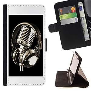 For Samsung Galaxy J3(2016) J320F J320P J320M J320Y Case , Micrófono de la vendimia Micrófono- la tarjeta de Crédito Slots PU Funda de cuero Monedero caso cubierta de piel