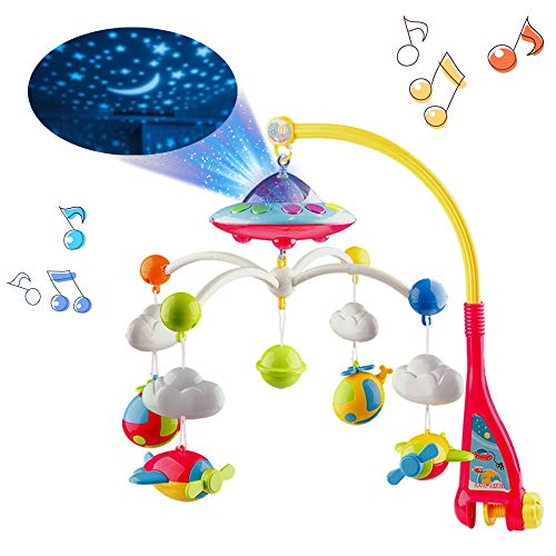 Mini Tudou Musical Baby Crib Mobile with Lights and Music, Star Projector Function and Cartoon Rattles, Remote Control Musical Box with 108 Melodies, Toy for Newborn Sleep from Mini Tudou