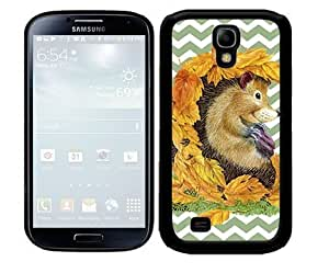 Autumn Hedgehog with Fall Leaves and Pastel Green Chevron Pattern 2-Piece Dual Layer High Impact Black Silicone Cell Phone Case Cover Samsung Galaxy S4 I9500