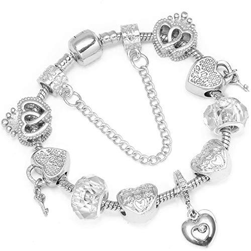 Women Bracelet Unique Rose Gold Crystal Charm Bracelet Beads Braceletd Bangle 26 17cm