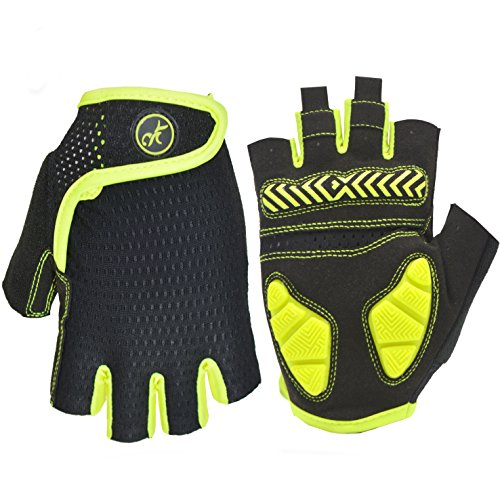 MOREOK Shock-Absorbing Breathable Anti Slip Cycling Gloves Half Finger Outdoor Sport Bicycle Gloves Gel Padded Mountain Road Bike Riding Gloves Men Women (Fluorescent Yellow&Black, L)