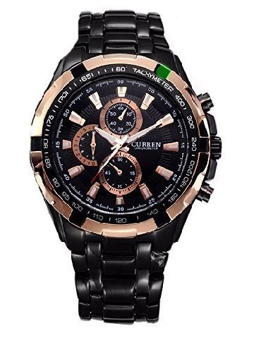 Curren Alloy Black Chain Rose Gold Dial Men #39;s Analog Watch
