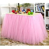 Haperlare Pink Tutu Tulle Table Skirt Table Cloth Skirts for Wedding Christmas Party Baby Shower Birthday Cake Table Girl Princess Decor,31x108inch
