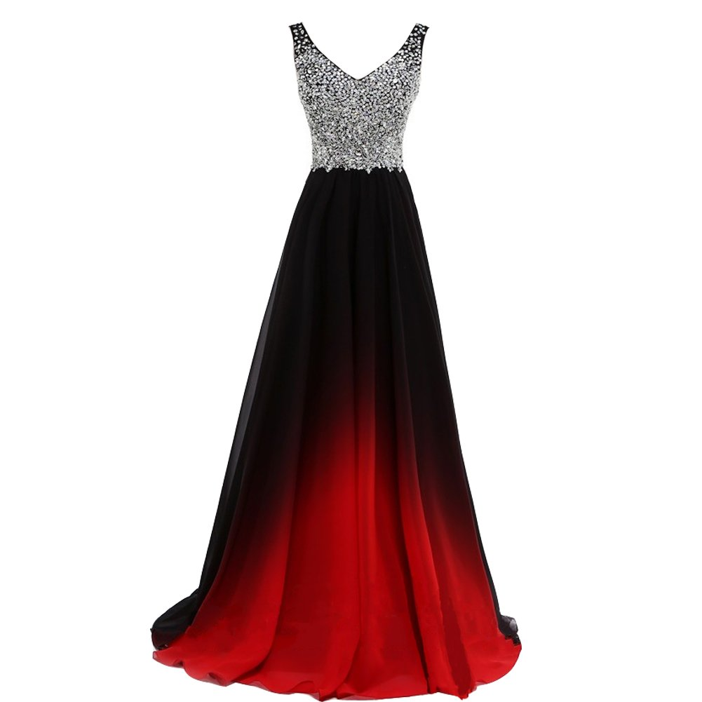 Plus Size Beaded Black Gradient Red Chiffon Long Prom Evening Dresses US 24W by Lemai