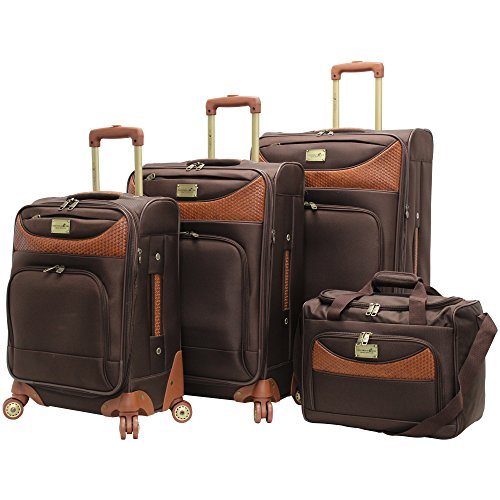 Caribbean Joe Castaway 4-Piece Spinner Luggage Set (Chocolate) by Caribbean Joe