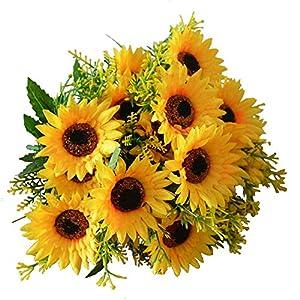 HEJIAYI 4PCS Artificial Sunflower Silk Plants Fake Flowers Bulk Outdoor Decor Table Windowsill Flower Arrangements Sun Flower Wedding Bouquets 86