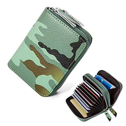 RFID Blocking Credit Card Holder-Welegant Camo Accordion Wallet Genuine Leather Compact Card Holder Zipper Organizer Case for Women Men(Camo, Green)