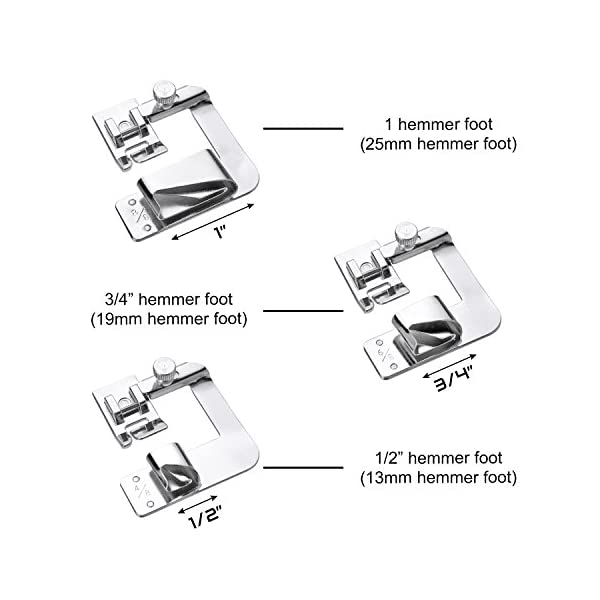 1//2 Inch, 3//4 Inch, 1 Inch Fit for Most Low Shank Sewing Machines 3 Sizes Rolled Hem Pressure Foot Sewing Machine Presser Foot Hemmer Foot Set