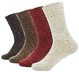 Bienvenu lady's 4 Pack Pattern Warm Cotton Crew Socks,Multicolor 3