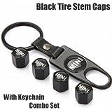 Mini Cooper Black Tire Stem Valve Caps and Black Keychain Combo Set