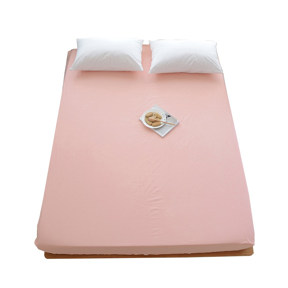 ORoa 100% Cotton Solid Children Fitted Sheets Soft Single Deep Fitted Bed Sheet Twin Full Queen Size (Full/Queen, Pink)