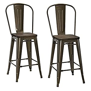"""DHP Luxor Metal Counter Stool with Wood Seat and Backrest, Set of two, 24"""", Antique Bronze"""