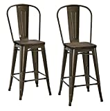 DHP Luxor Metal Counter Stool with Wood Seat and Backrest, Set of two, 24'', Antique Bronze