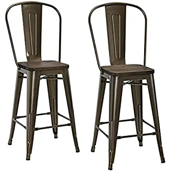 DHP Luxor Metal Counter Stool With Wood Seat And Backrest, Set Of Two, 24