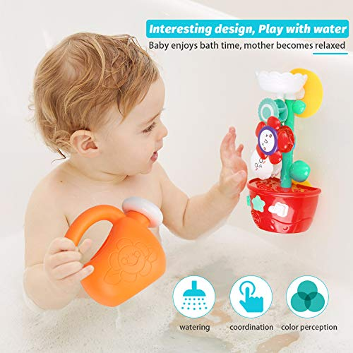 GOODLOGO Flower Bath Toys Bathtub Toys for Toddlers Babies Kids 2 3 4 Year Old Girls Boys Gifts with 1 Mini Sprinkler 2 Toys Cups Strong Suction Cups Gifts Ideal with Color Box