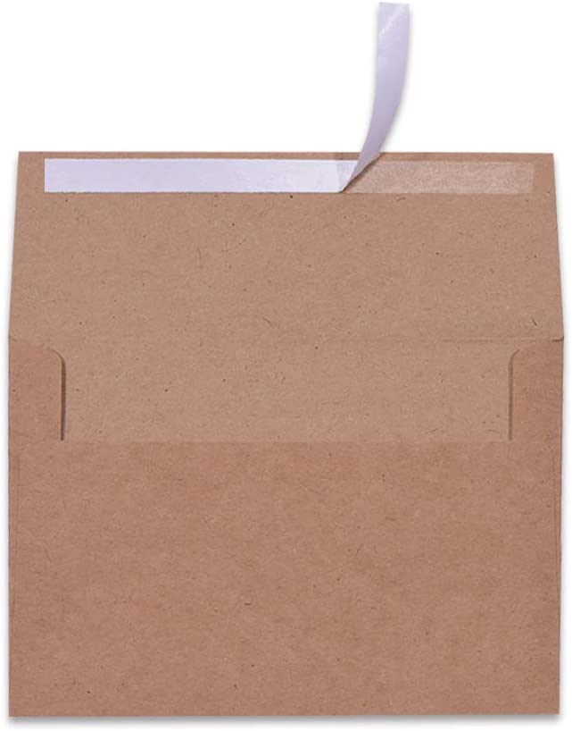 100 Pack A7 Brown Kraft Paper Invitation 5 x 7 Envelopes - Quick Self Seal For 5x7 Cards  Perfect for Weddings, Invitations, Baby Shower  Stationery For General, Office   5.25 x 7.25 Inches : Office Products