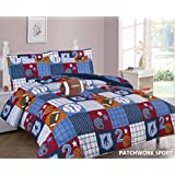 WPM Patch Work Blue sports base/basket/foot ball print bedding set choose from Full/Twin comforter or bed sheets or window curtains panels for kids/girls/boys room (Full Comforter set)