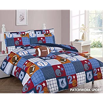 Amazoncom Mainstays Kids Sports Patch Coordinated Bedding Set