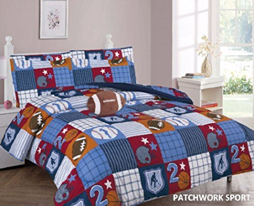 WPM Patch Work Blue sports base/basket/foot ball print bedding set choose from Full/Twin comforter or bed sheets or window curtains panels for kids/girls/boys room (Twin Comforter Set)