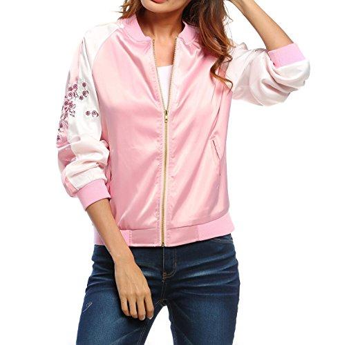Meaneor Veste/Blouson/Jacket Bomber Femme Mode Zippe Imprime Florale Courte Rose