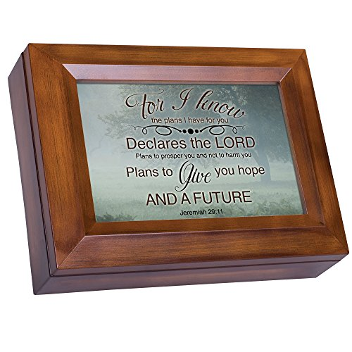 Misty Meadow Tree Jeremiah 29:11 Wood Finish Jewelry Music Box Plays You are My -