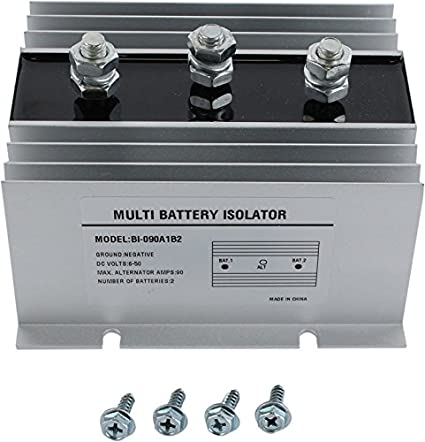 DB Electrical BSL0005 90 Amp Dual Multi 2 Two Battery Isolator for Marine,  RV, EMS Vehicles, Fire Trucks/Negative Ground, 6-50 DC Volts,