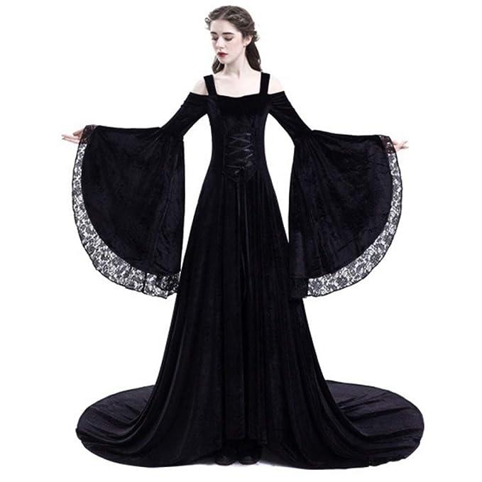 Yukeyy Disfraz Medieval De Mujer Vestido Largo Vestido Vintage De Manga Larga Disfraz De Cosplay De