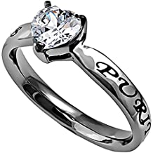 Purity Heart Ring, Stainless Steel with Simulated CZ, Christian Bible Verse from Beatitudes