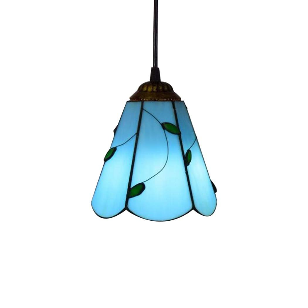 Tiffany Style Pendant Lights, European Vintage 6 Inch Stained Glass Leaves Design Small Pendant Lamp, Modern And Simple Bar Restaurant Bedroom Balcony Art chandelier E27 Without Light Source