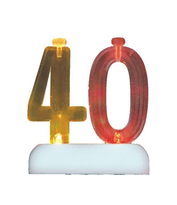 Unique Party- Portavelas de cumpleaños intermitente número 40 con 4 velas (37544)