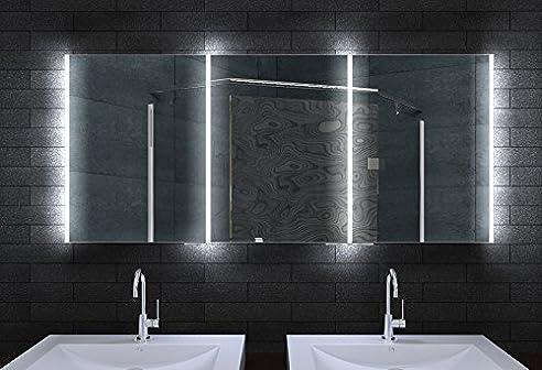 Alu Badschrank badezimmer spiegelschrank bad LED Beleuchtung 160 x ...