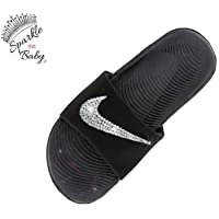 47e96978927 Nike Slide Kawa Women s Black Swarovski Bedazzled Shoes Bling Nike  Customized for you by Sparkle Me