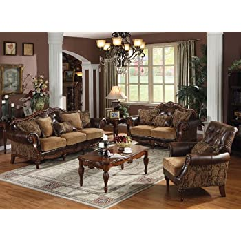 astounding formal living room sofa sets furniture | Amazon.com: 3pc Princeton Tri-Tone Burgundy Leather Sofa ...