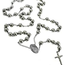 """Unique Divine Mercy Catholic Stainless Steel Rosary Beads 24"""" Necklace with Crucifix and Medal 6mm Beads"""