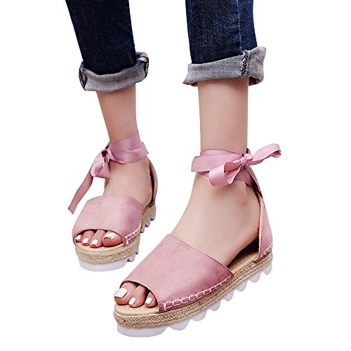 Womens Espadrilles Lace Tie up Flat Sandals Summer Peep Toe Classic Mid Heel Shoes (9, Pink)