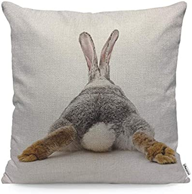 Marvelous Wondertify Throw Pillow Case Cover Grey Rabbit Isolated On A White Background Bunny Tail Back Soft Linen Pillow Case For Decorative Ocoug Best Dining Table And Chair Ideas Images Ocougorg