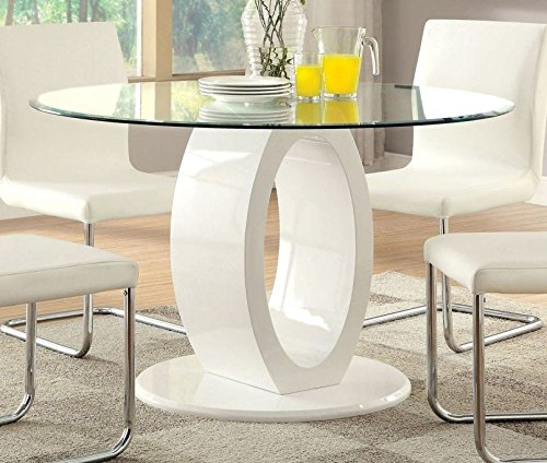 (Lodia White Round Dining Table w/ Glass Top by Furniture of America)